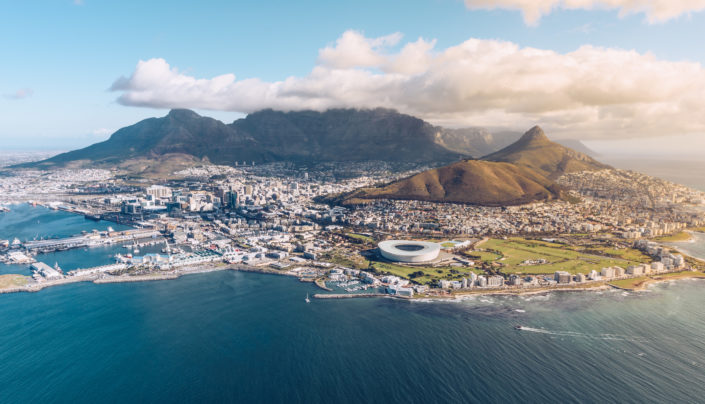 Table Mountain and city aerial view
